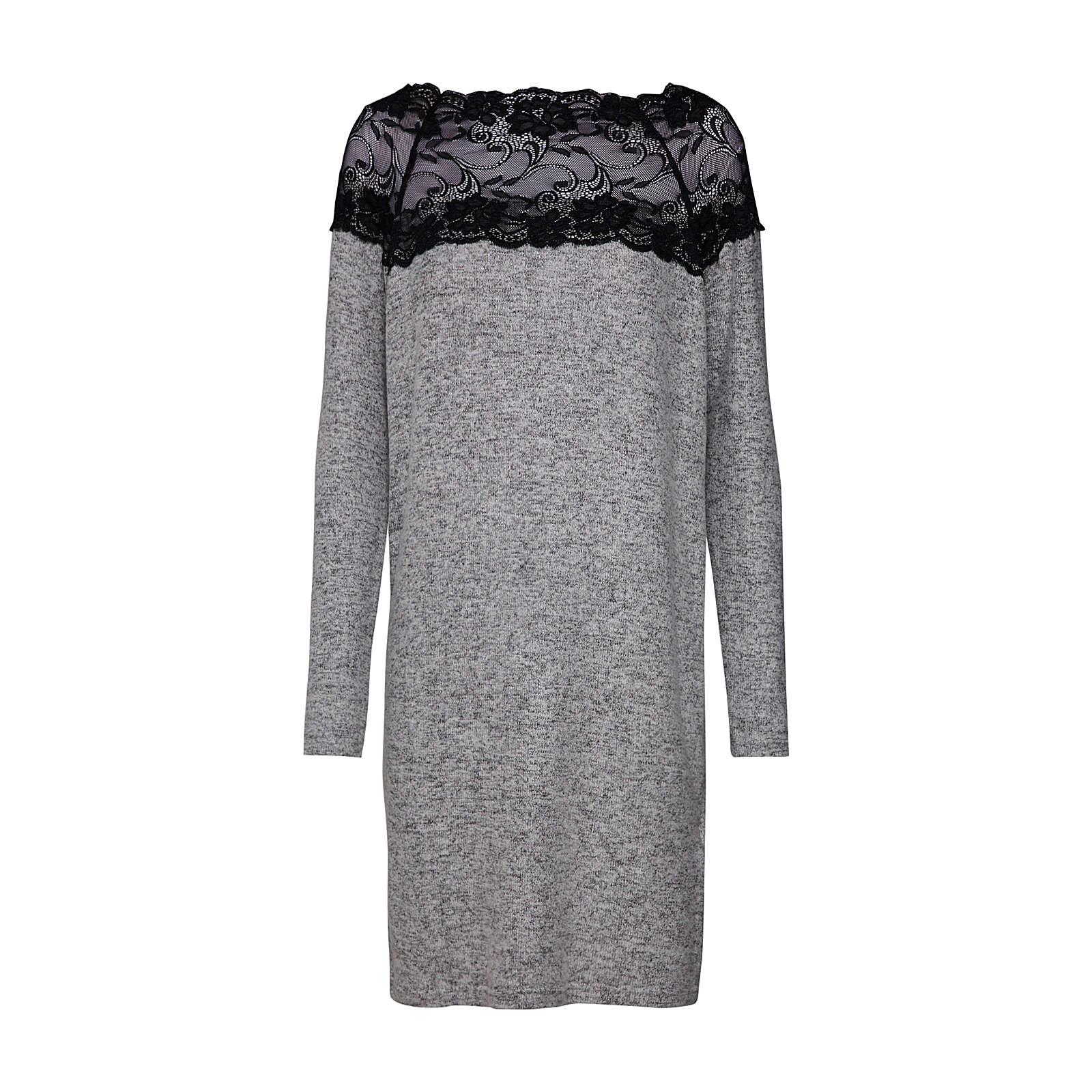VERO MODA Kleid VMCIMA LACE LS DRESS Sommerkleider hellgrau Damen Gr. 34