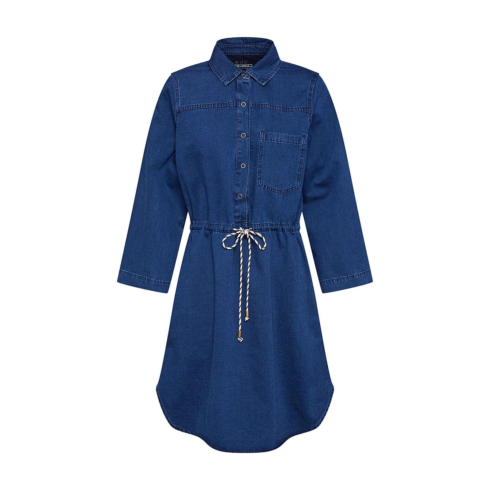 EDC BY ESPRIT Blusenkleid Blusenkleider blue denim Damen Gr. 42
