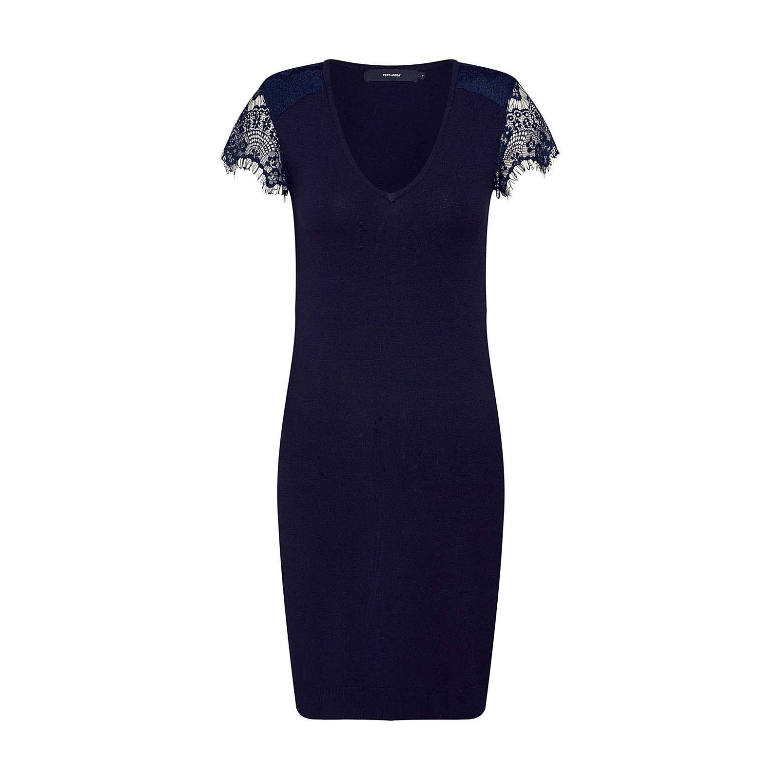 VERO MODA Kleid VMLASSI GLORY SS V-NECK DRESS Jerseykleider blau Damen Gr. 38