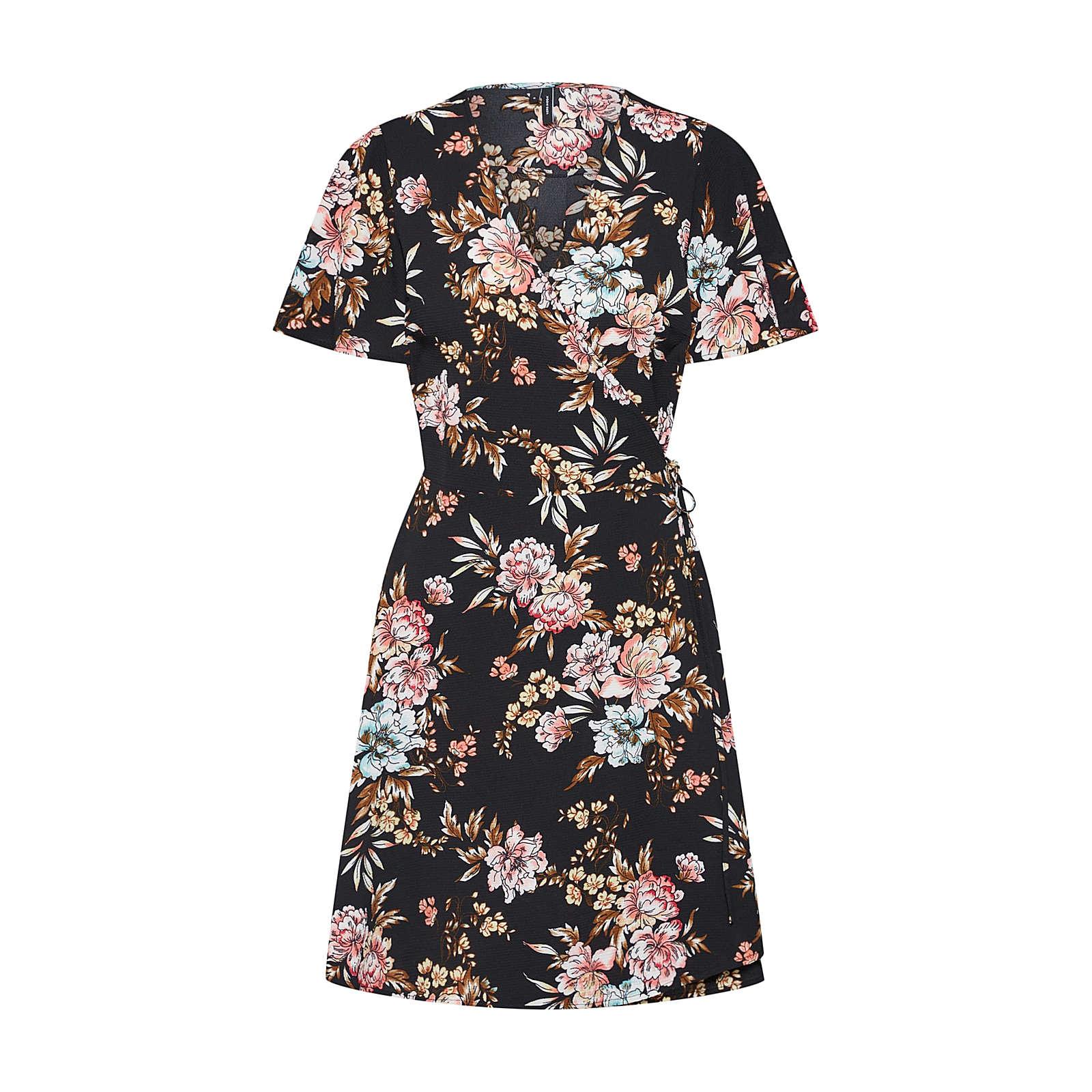 VERO MODA Kleid VMSASHA S/S SHORT WRAP DRESS EXP Kleider schwarz Damen Gr. 34