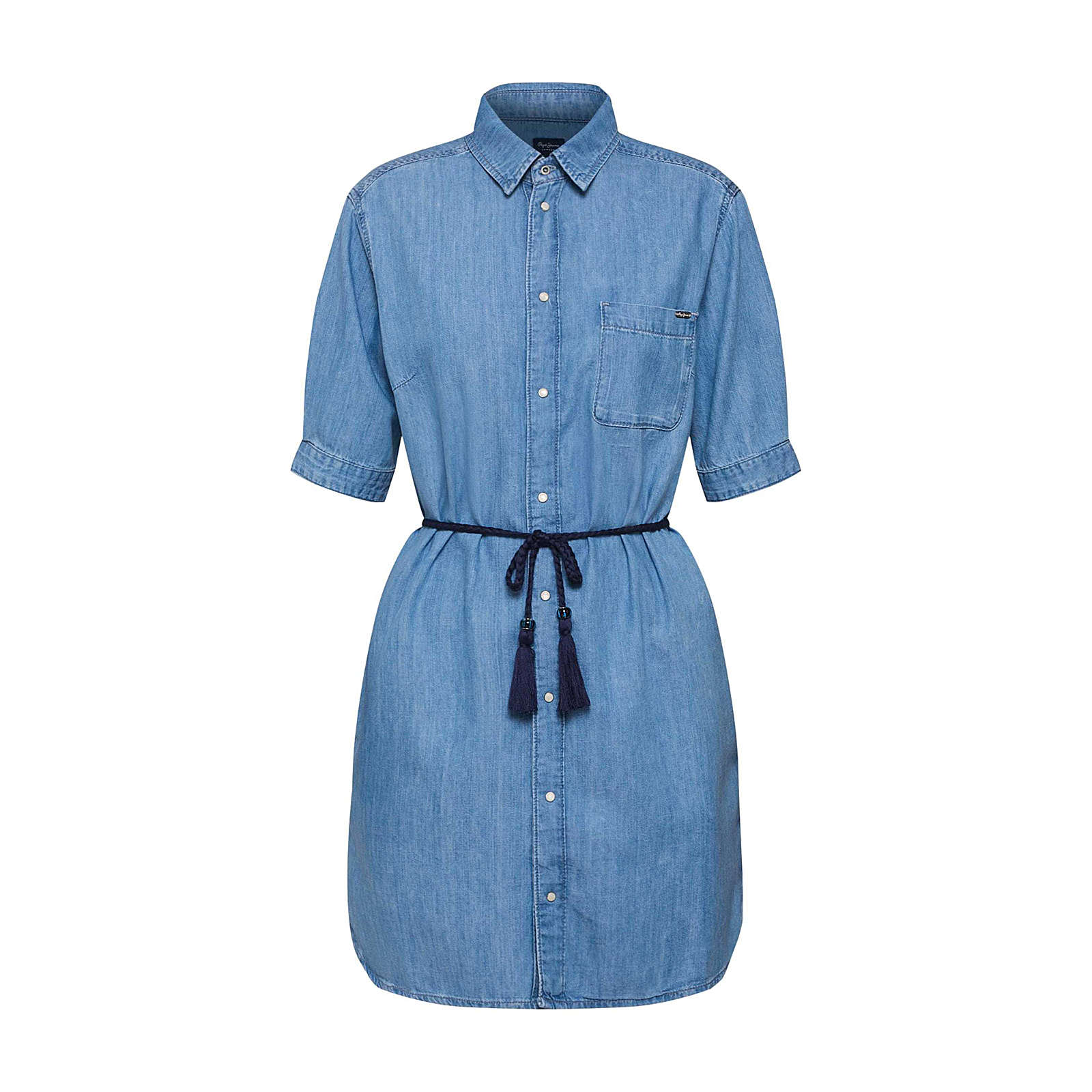 Pepe Jeans Blusenkleid EVELYN Blusenkleider blau Damen Gr. 38