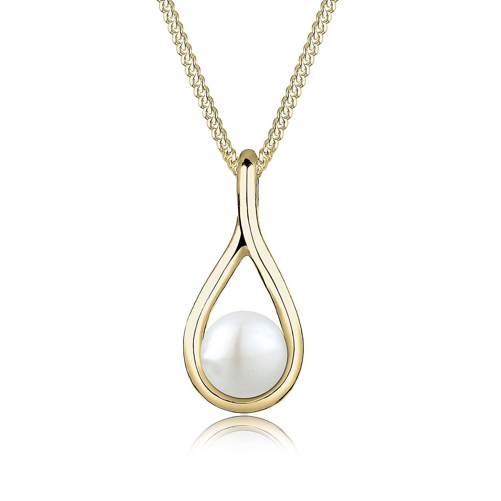 Elli PREMIUM Halskette Geschwungen Süßwasserperle 375 Gelbgold Halsketten gold Damen