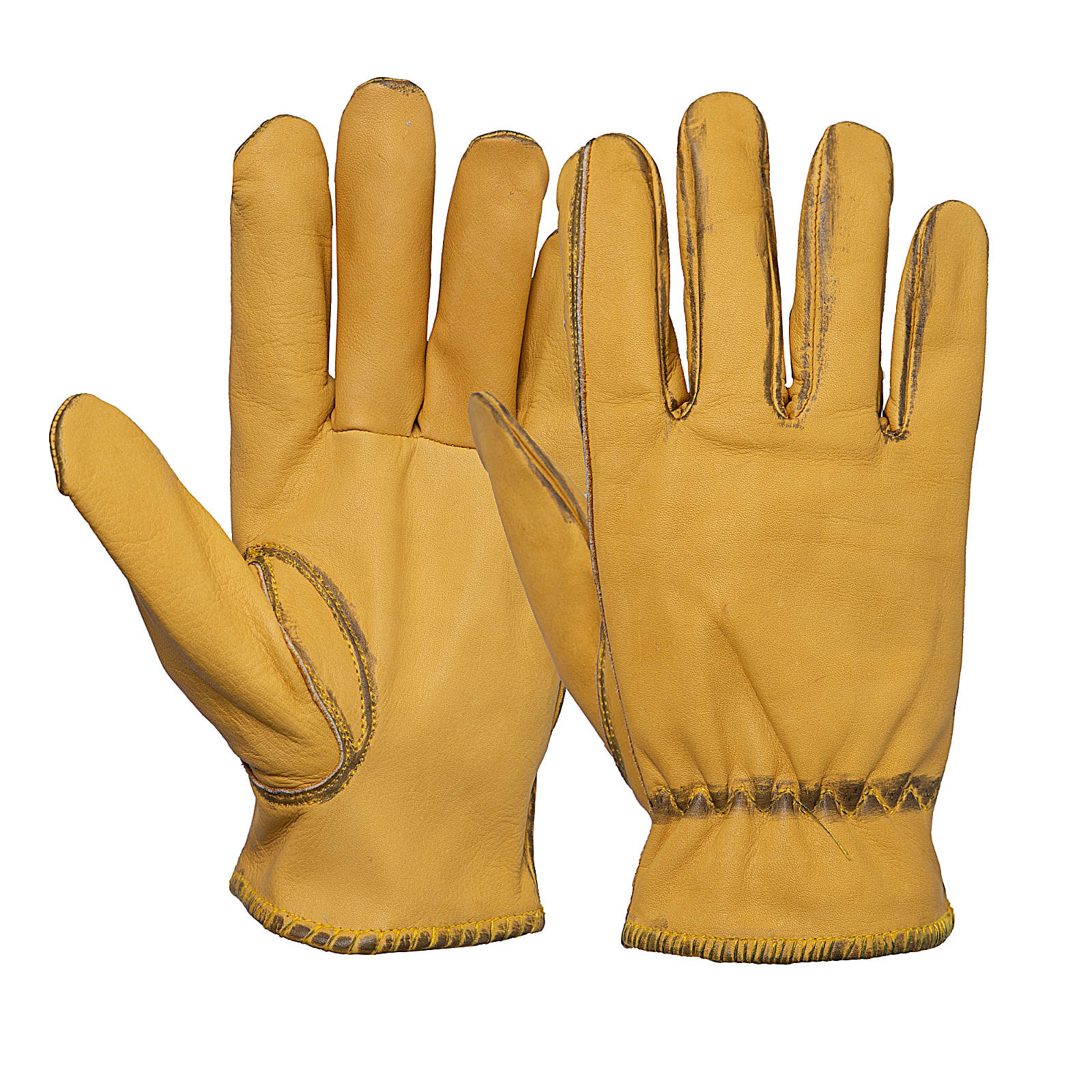 KING KEROSIN Herren Biker-Handschuhe im Vintage-Look Fahrradhandschuhe gelb Herren Gr. 10