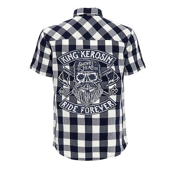 Ride Großer Kerosin Kurzarmhemden Forever Rückenapplikation Blau Mit Karohemd King sQxBtCdhr