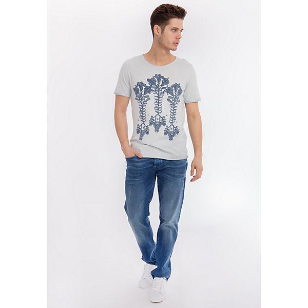 shirt T shirts Mit Waschung Vintage Und Front Druck Mexx T Hellblau LVqSMpzGU