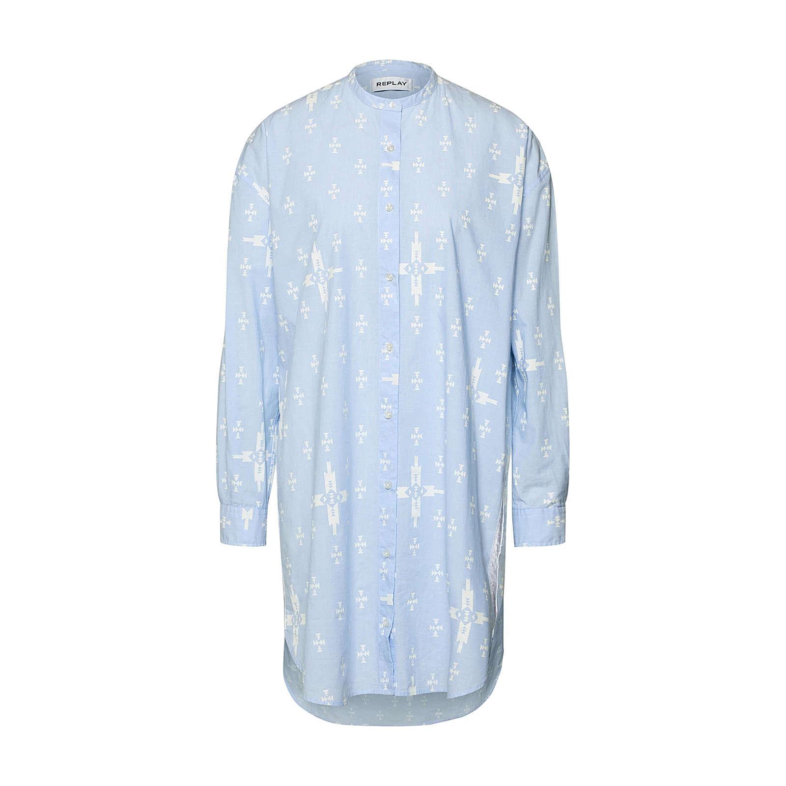 REPLAY Blusenkleid Kleid Blusenkleider hellblau Damen Gr. 34