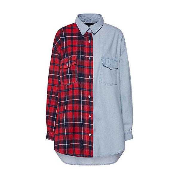 arm Check Splice Bluse Denim Shirt 4 blusen Rot Missguided Tartan 3 54RjLA