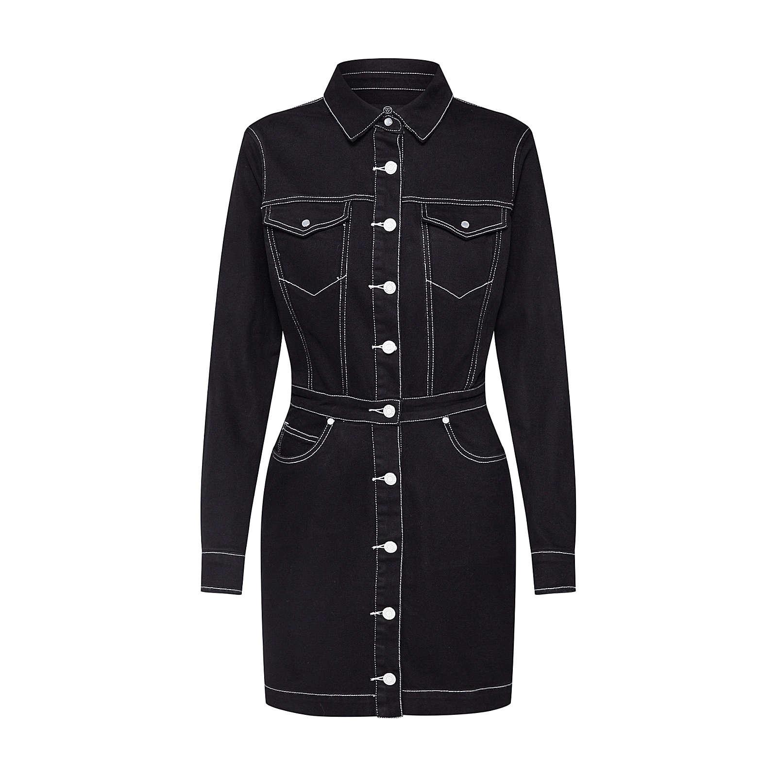Missguided Blusenkleid Blusenkleider schwarz Damen Gr. 34