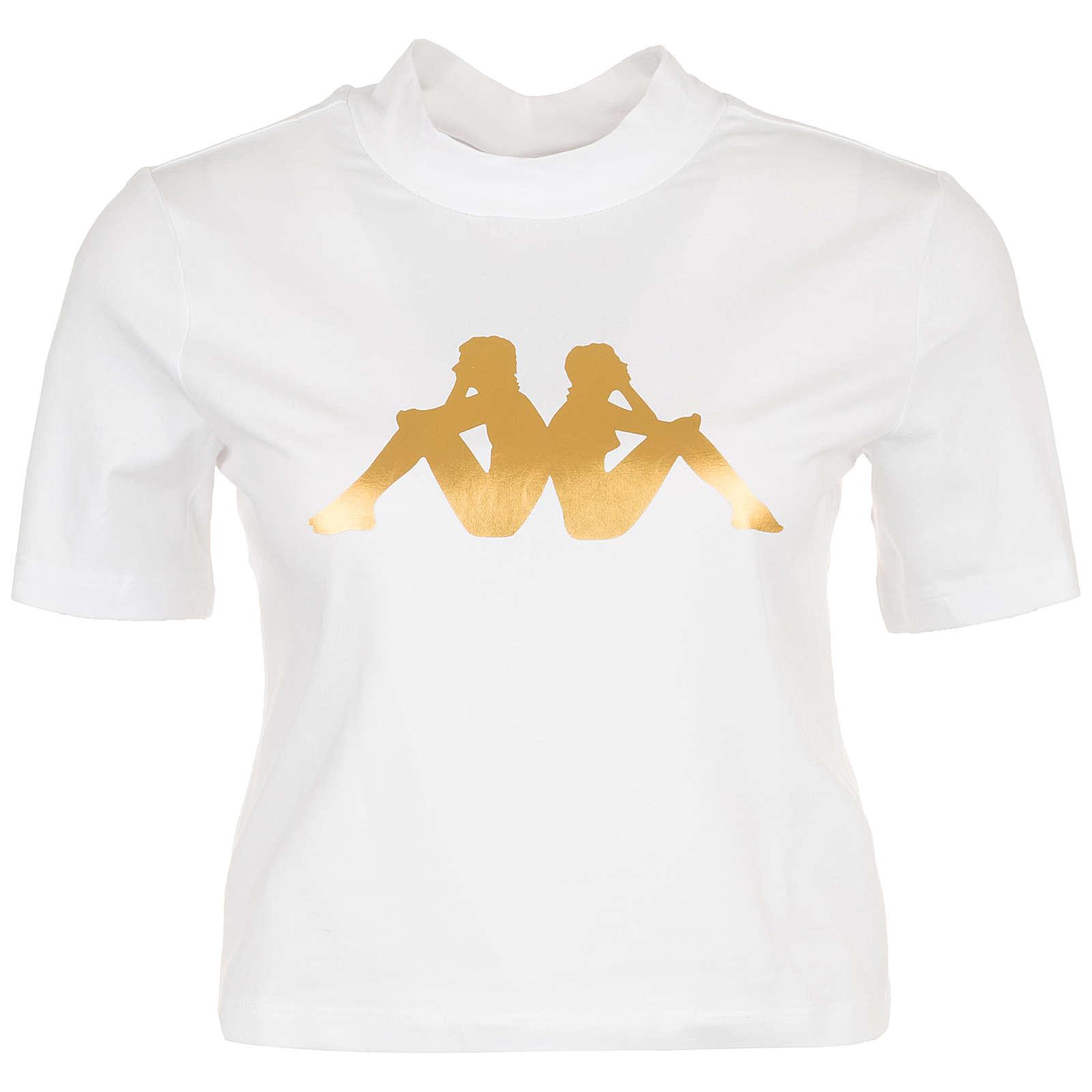 Kappa Effi T-Shirt Damen weiß/gold Damen Gr. 32