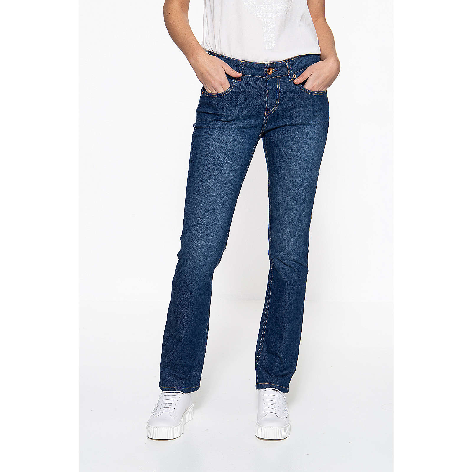 ATT Jeans Straight Cut Jeans »Stella« mit Kontraststeppungen Stella Jeanshosen dunkelblau Damen Gr. W34/L34