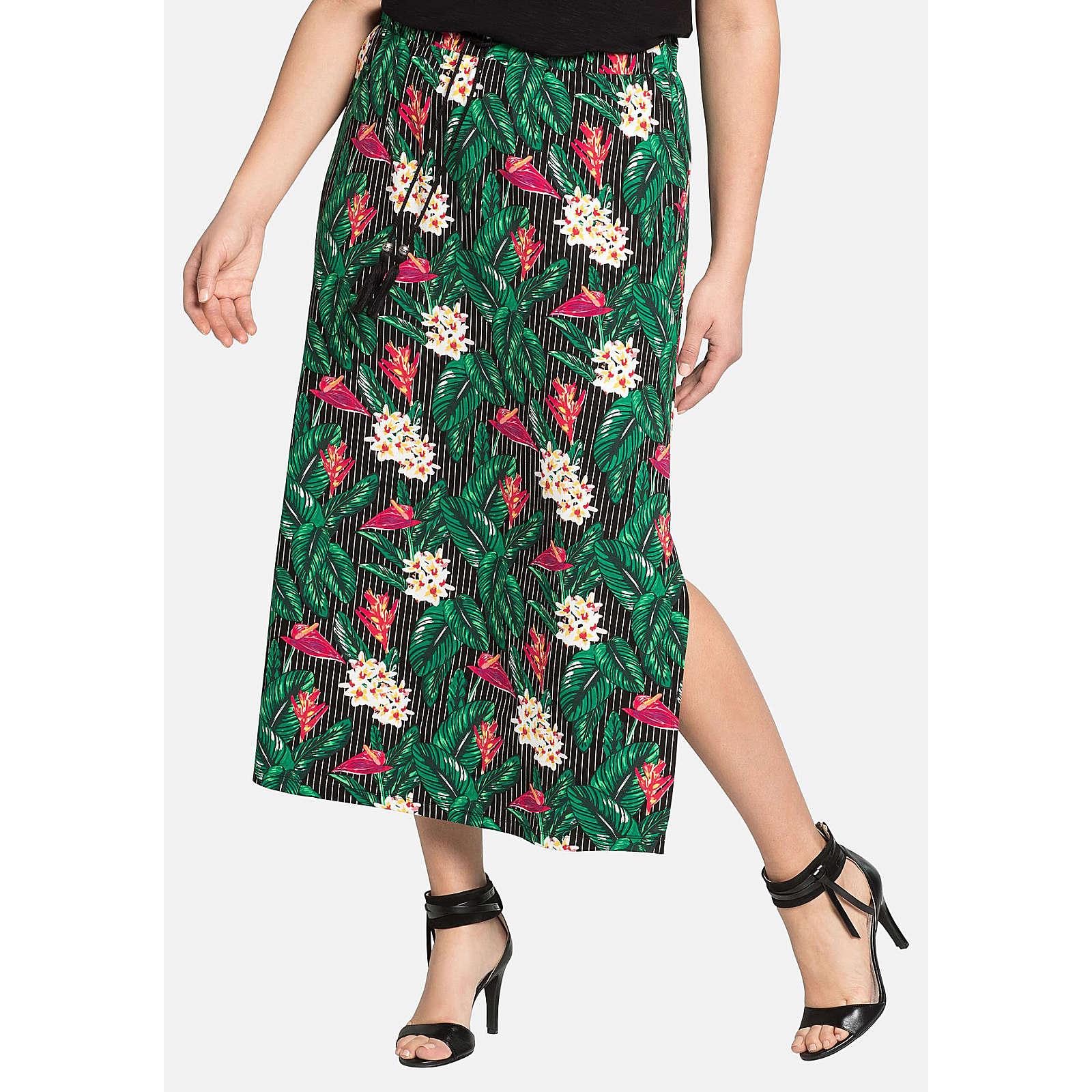 sheego Maxirock mit floralem Muster Röcke mehrfarbig Damen Gr. 56