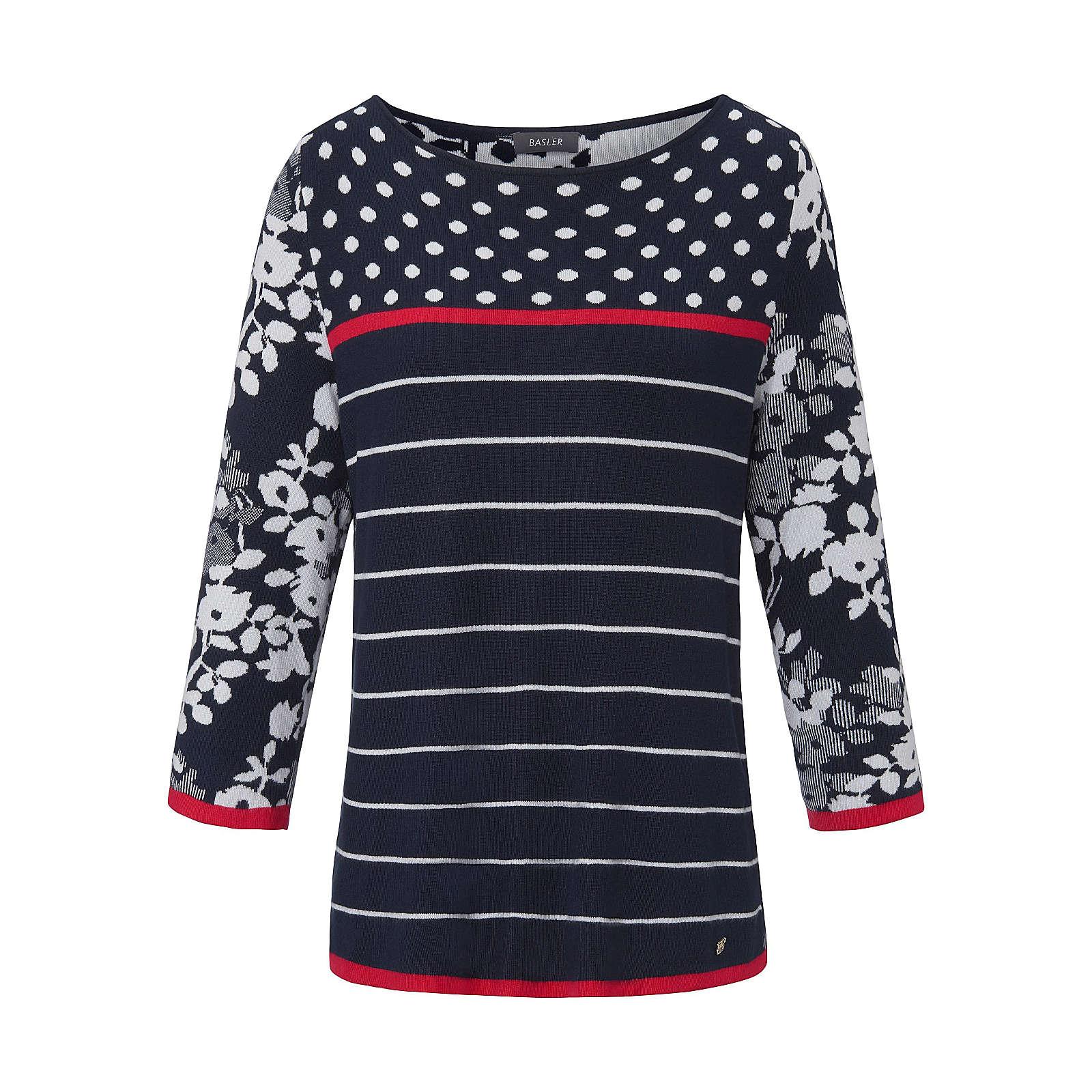 BASLER Rundhals-Pullover Rundhals-Pullover mit 3/4-Arm Pullover blau Damen Gr. 42
