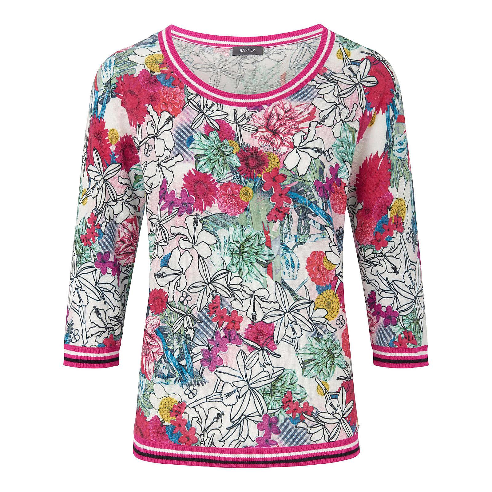 BASLER Rundhals-Pullover Rundhals-Pullover mit 3/4-Arm Pullover bunt Damen Gr. 52