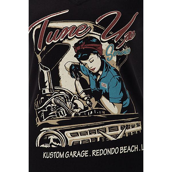 Schwarz Trendigem Kurzarm Kerosin ausschnitt Up Shirt V Tune Queen T Mit shirts nN80mw