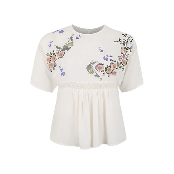 blusen 3 Lost 4 Bluse Top Ink arm Plus Smock With Weiß Blossom Embroidery lTFJKc1