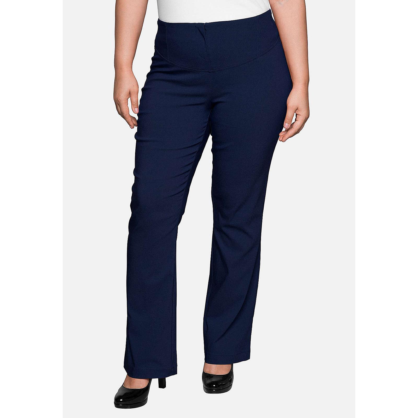 sheego Bodyforming-Hose mit leicht ausgestelltem Bein Stoffhosen dunkelblau Damen Gr. 48