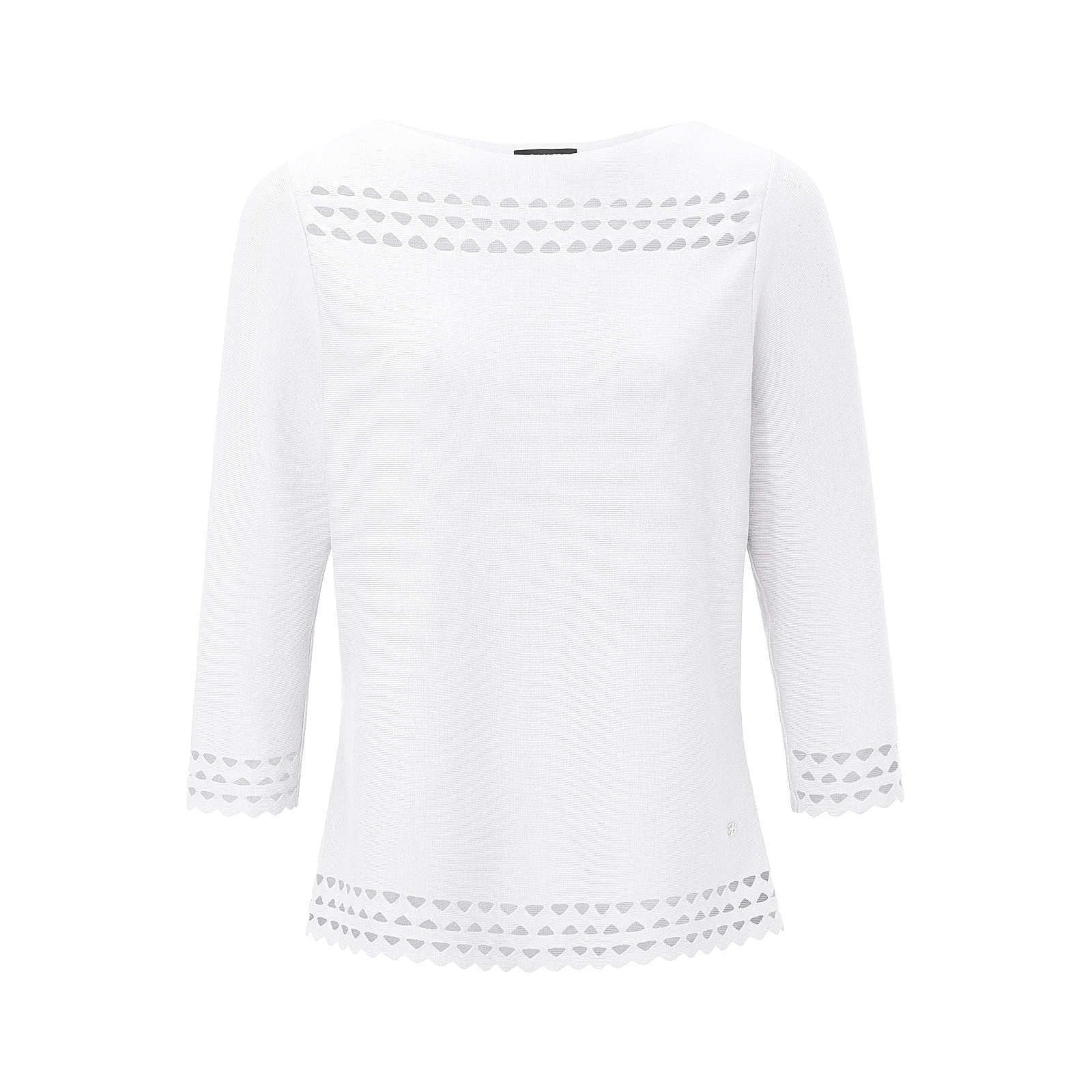 BASLER Rundhals-Pullover Rundhals-Pullover mit 3/4-Arm Pullover weiß Damen Gr. 38
