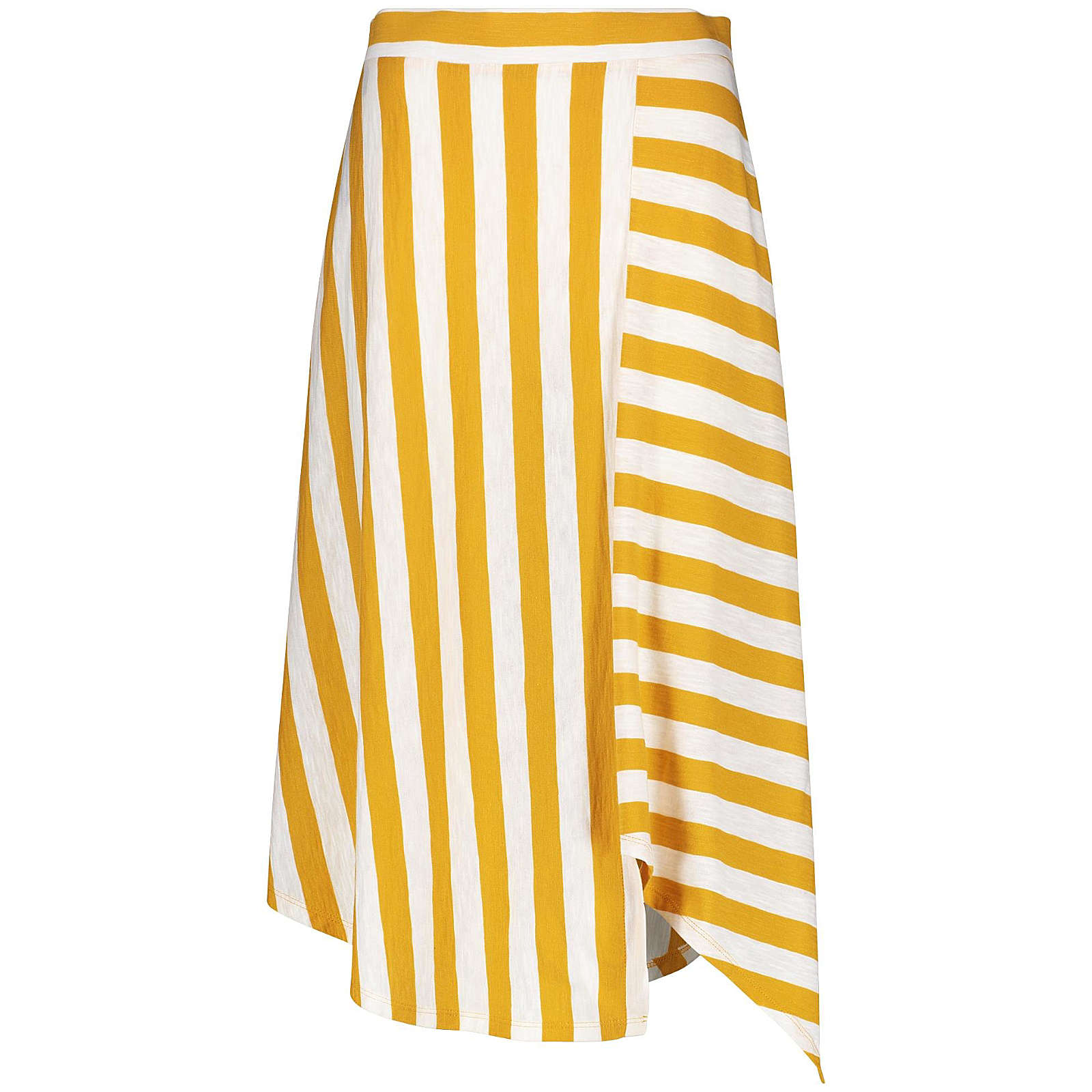 Taifun Rock Gewirke Jerseyrock mit Streifen-Dessin gelb/weiß Damen Gr. 34