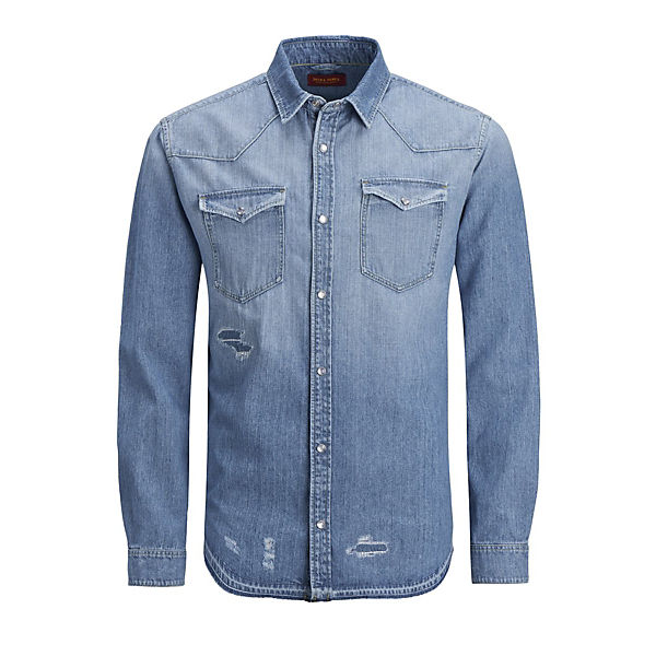 Jeanshemd Fit Jackamp; Jones Langarmhemden Blau Slim kiPZuX