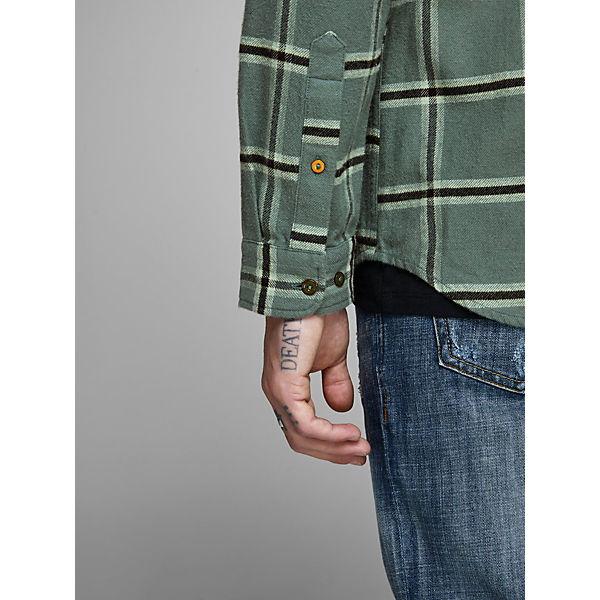 Jackamp; Hemd Fit Karo Jones Slim Langarmhemden Grün Premium 35Aq4RjL
