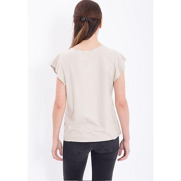 shirts Flügelärmel Bedrucktes optik In Velourleder Mexx T Beige Shirt Mit fbg76yY