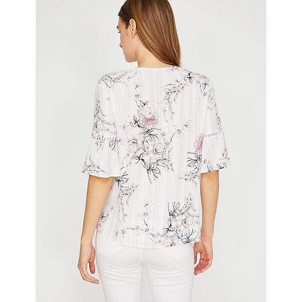 Koton shirt T Rosa Streifen blumen Mit print shirts T pqSzVUM