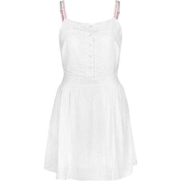 Klein Strap Kleider Slip W Kleid Calvin Jeans Weiß Logo wO8n0kP