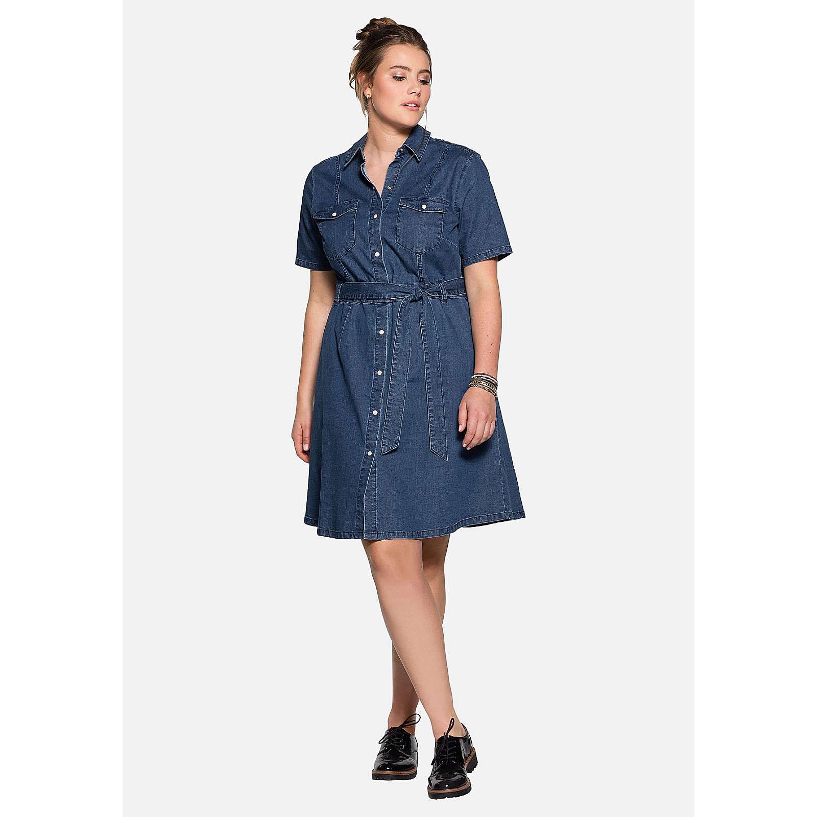 sheego Jeanskleid mit Brusttaschen Jeanskleider denim Damen Gr. 52