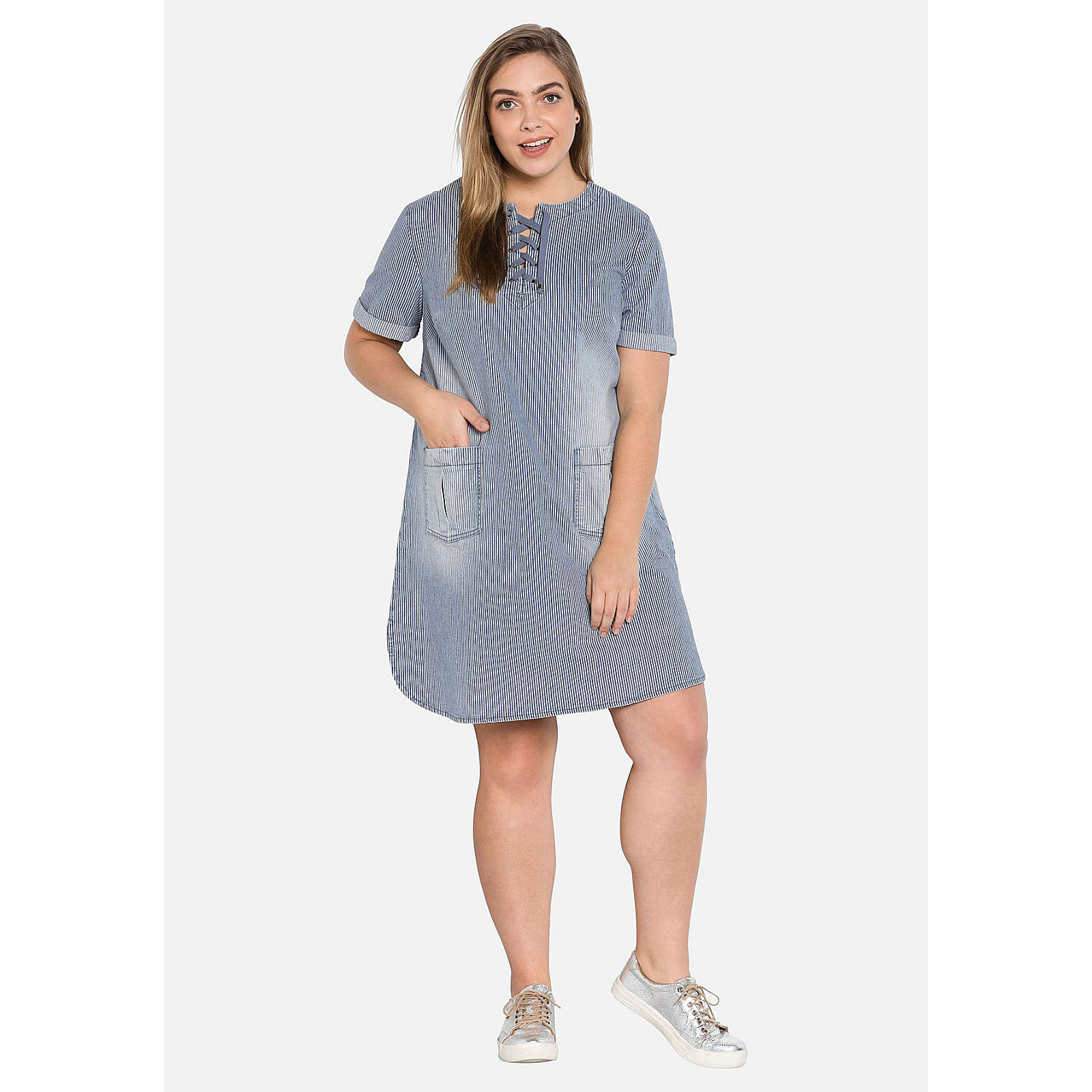 sheego Jeanskleid mit Zick-Zack-Schnürung Jeanskleider denim Damen Gr. 52