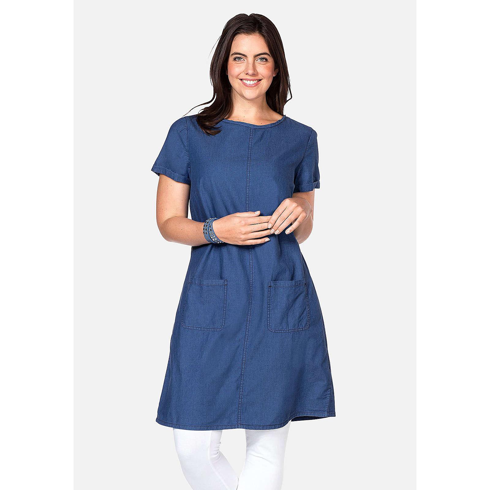 sheego Jeanskleid mit aufgesetzten Taschen Jeanskleider denim Damen Gr. 44