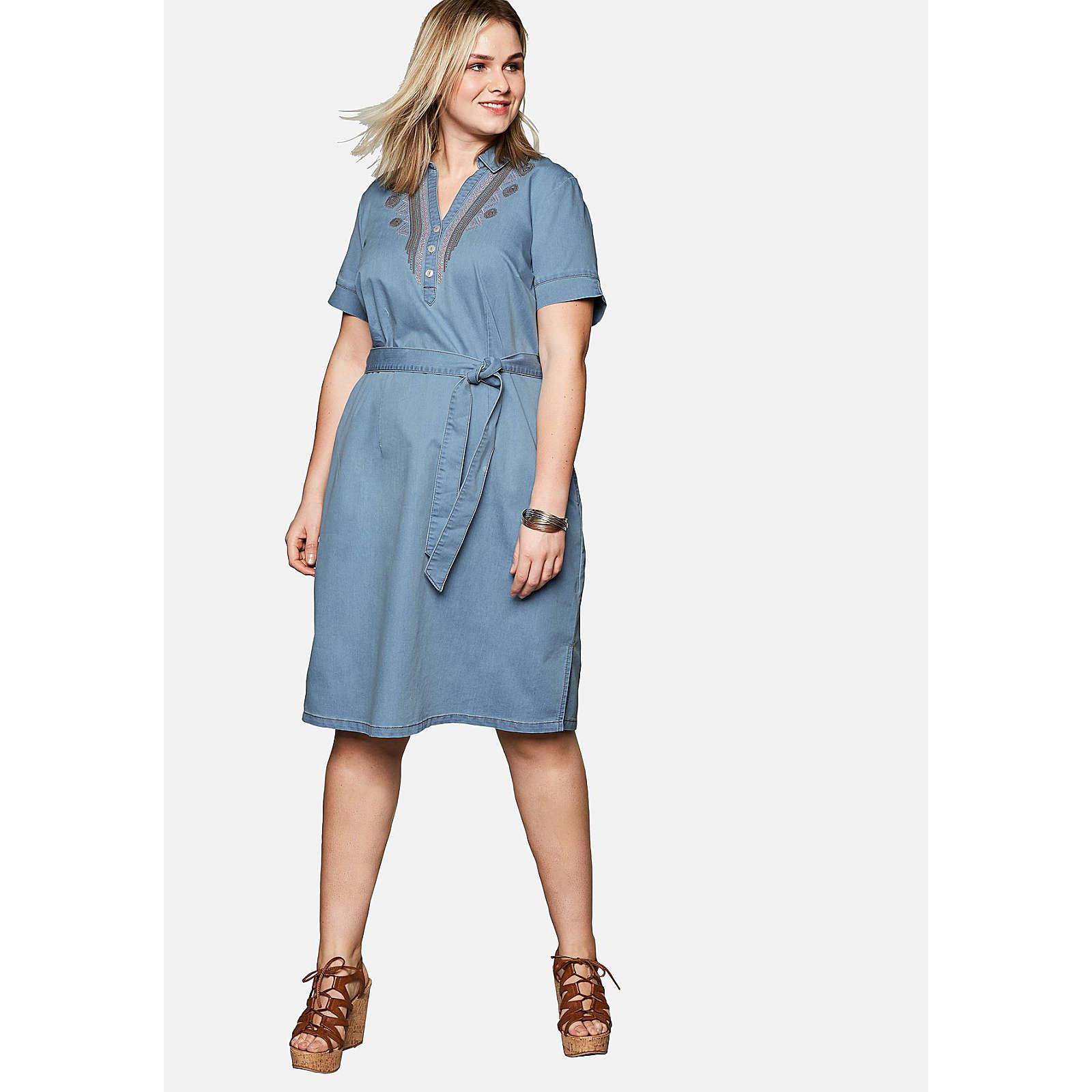sheego Jeanskleid mit aufwendiger Stickerei am V-Ausschnitt Jeanskleider hellblau Damen Gr. 58