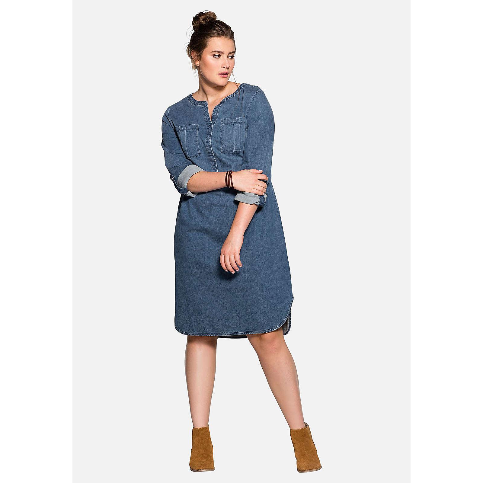 sheego Jeanskleid mit krempelbaren Ärmeln Jeanskleider denim Damen Gr. 44