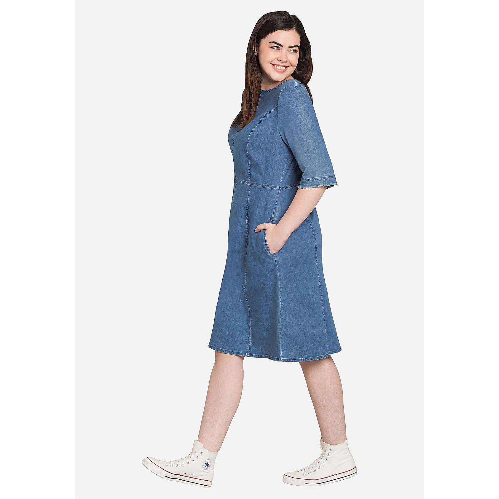 sheego Jeanskleid mit lässigen Eingrifftaschen Jeanskleider hellblau Damen Gr. 54
