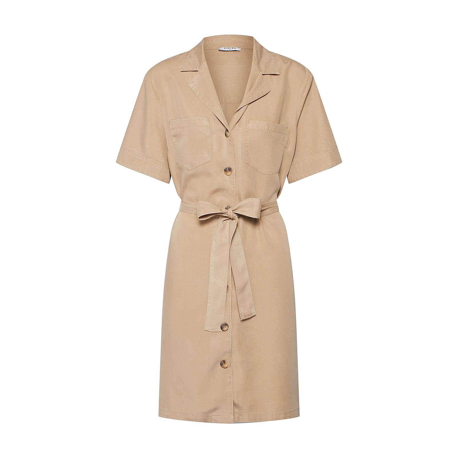 PIECES Blusenkleid WHY Blusenkleider beige Damen Gr. 38
