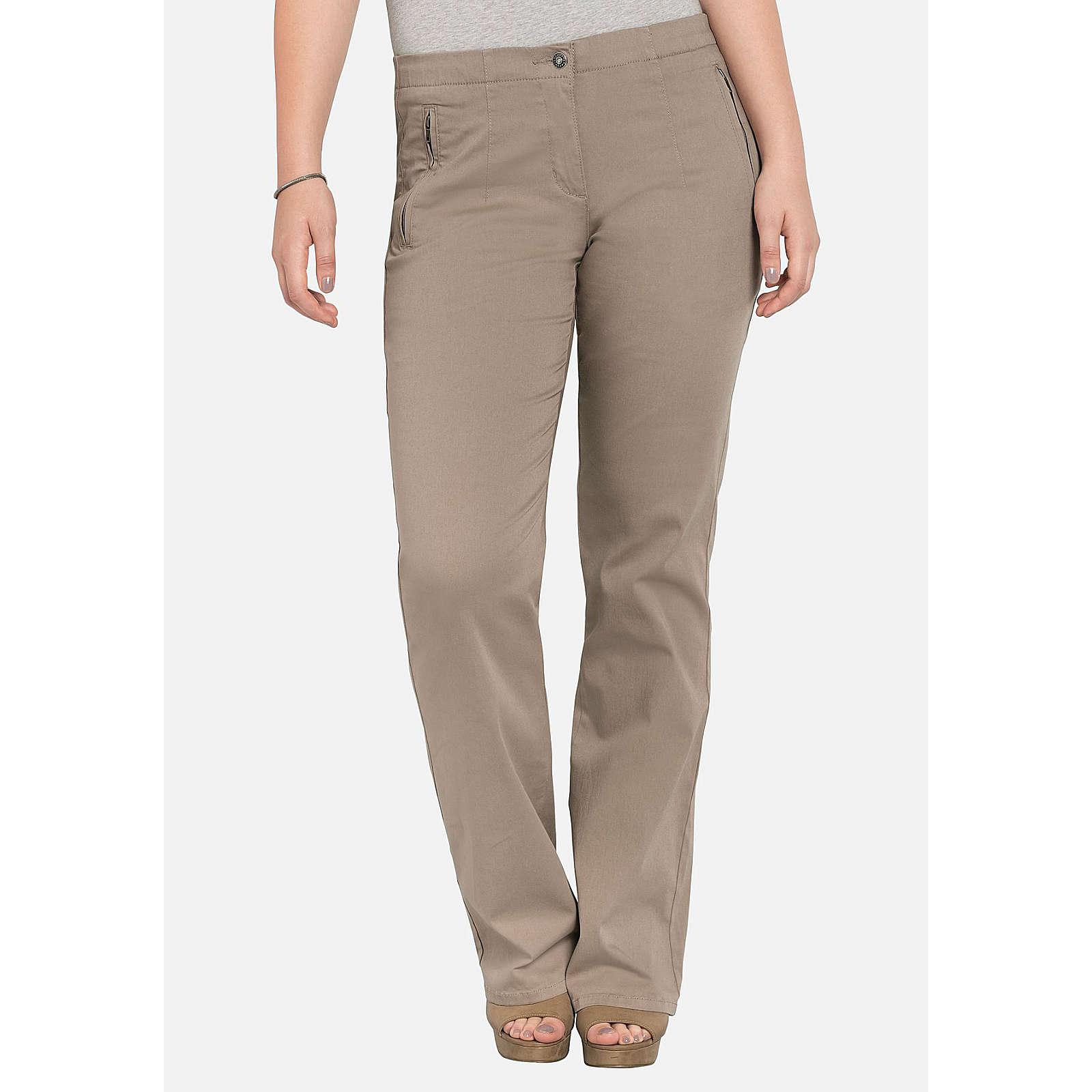 sheego Bootcut-Hose mit Reißverschlusstaschen Jeanshosen taupe Damen Gr. 50