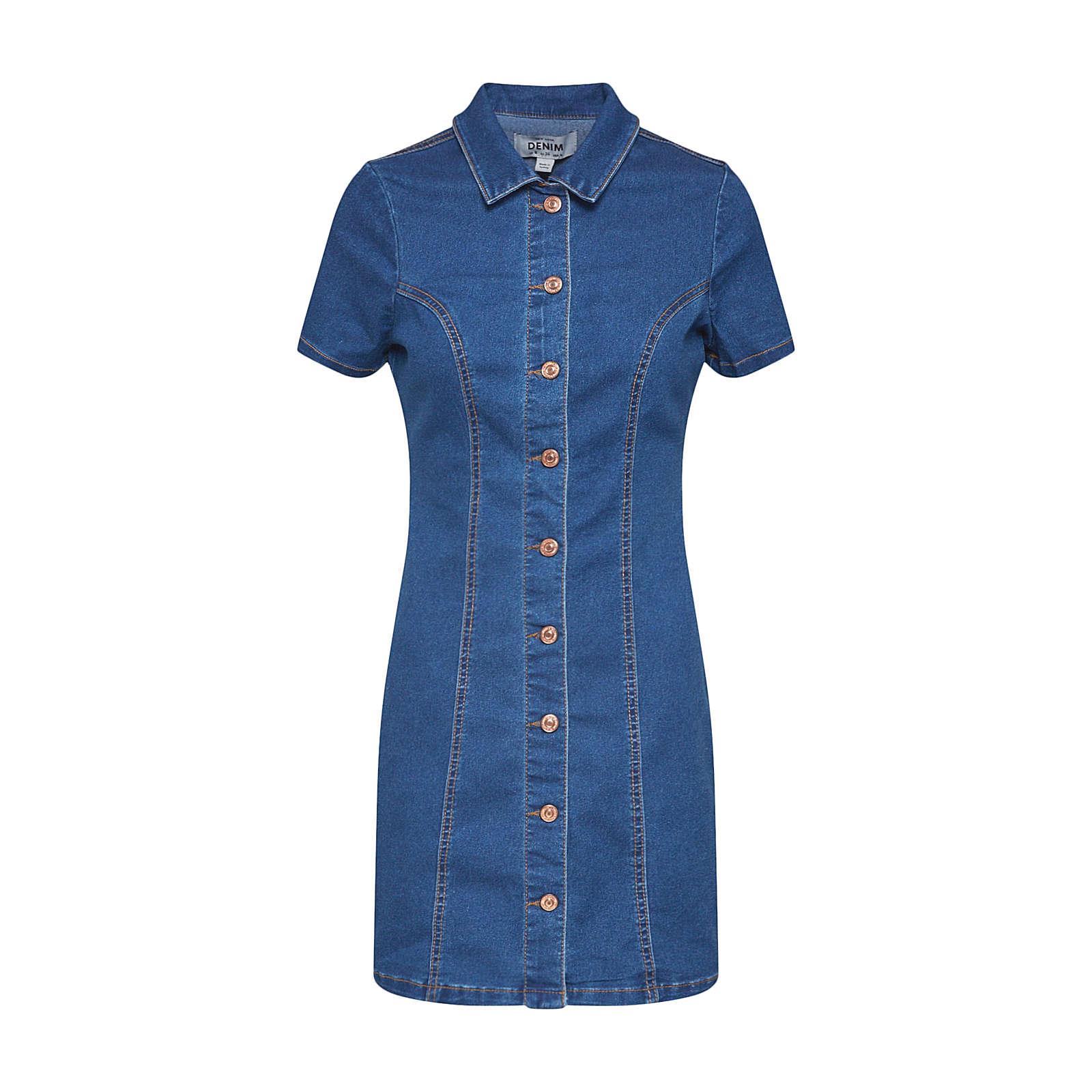 NEW LOOK Sommerkleid Sommerkleider blue denim Damen Gr. 40