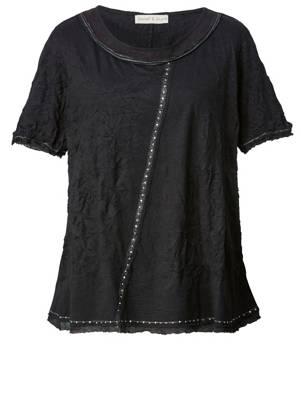 Janet /& Joyce Shirt mit Allover-Print schwarz halbarm Baumwolle floral Damen