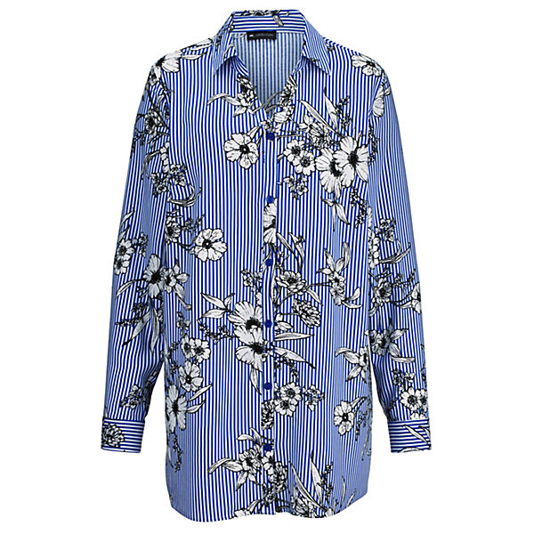 MCollection Bluse MCollection Blau weiß Bluse mw0OyvN8n