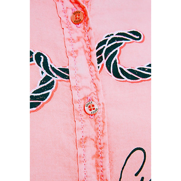 Orange Bluse Logo Langarmblusen Mit Und Soccx Print Raffung Seitlicher qzUMpLSVjG