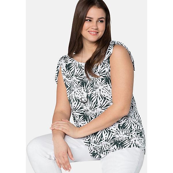 Mit Dunkelgrün Ärmelloses Tops Sheego Floralem Shirt Alloverdruck yf7Ib6vYg