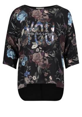 Paola Top mit Blumendruck weiß Kunstfaser floral Damen