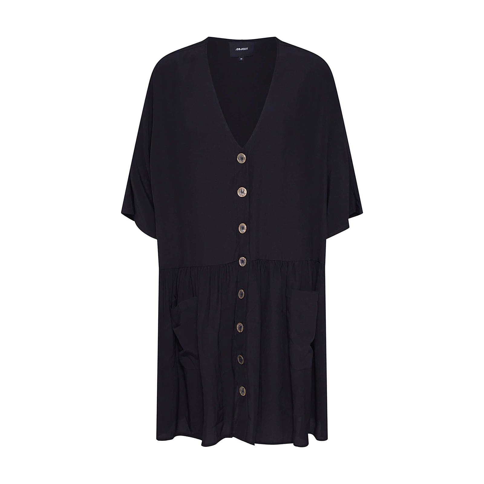 OBJECT Blusenkleid Blusenkleider schwarz Damen Gr. 34