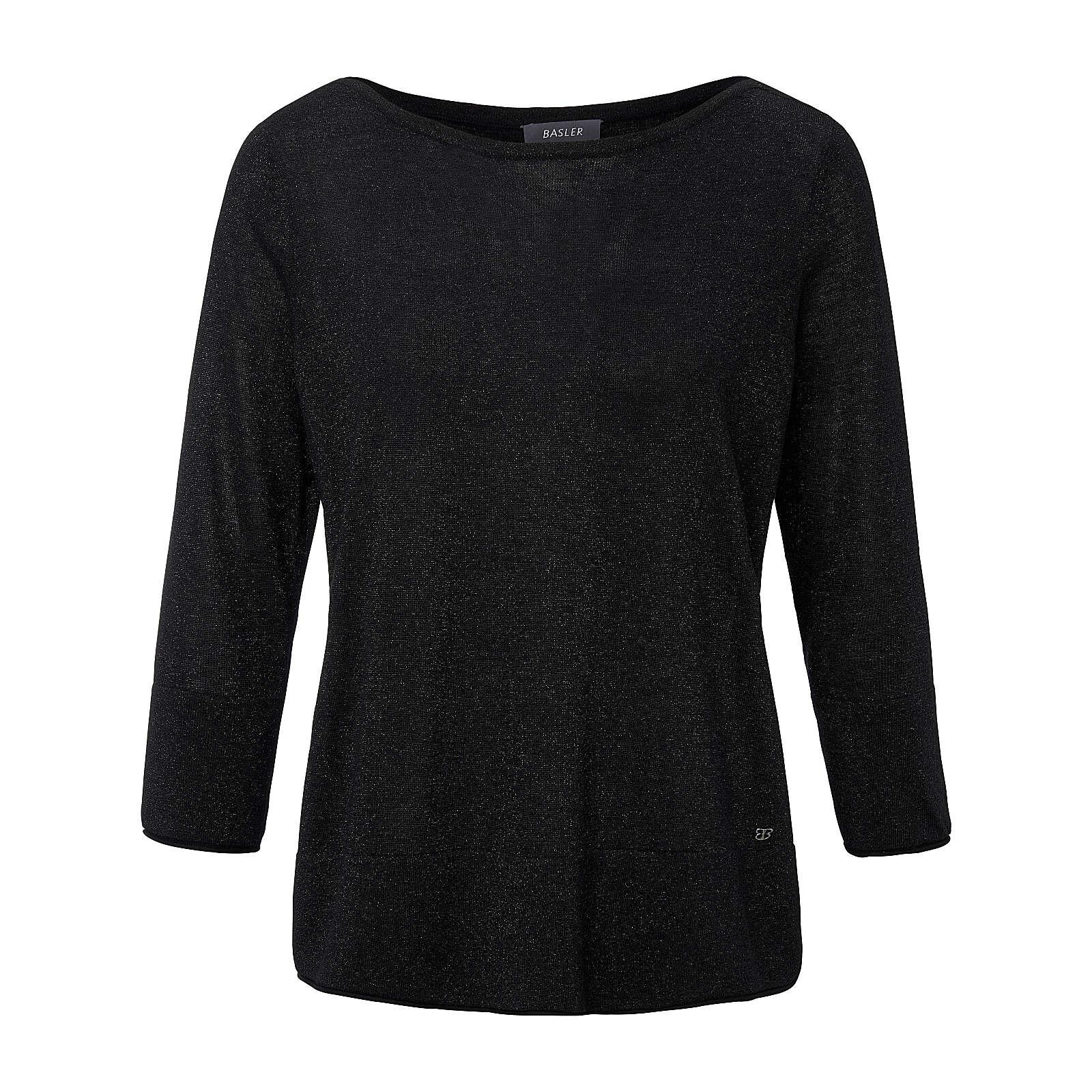 BASLER Rundhals-Pullover Rundhals-Pullover mit 3/4-Arm Pullover schwarz Damen Gr. 50