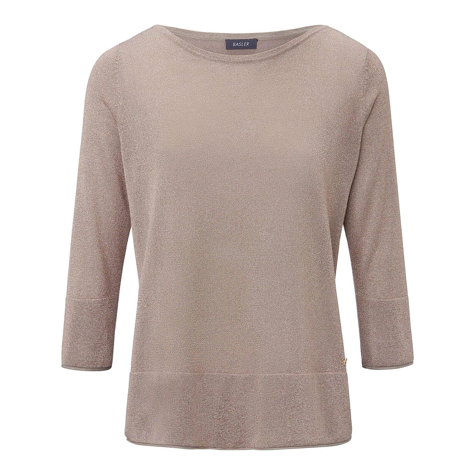 BASLER Rundhals-Pullover Rundhals-Pullover mit 3/4-Arm Pullover taupe Damen Gr. 52