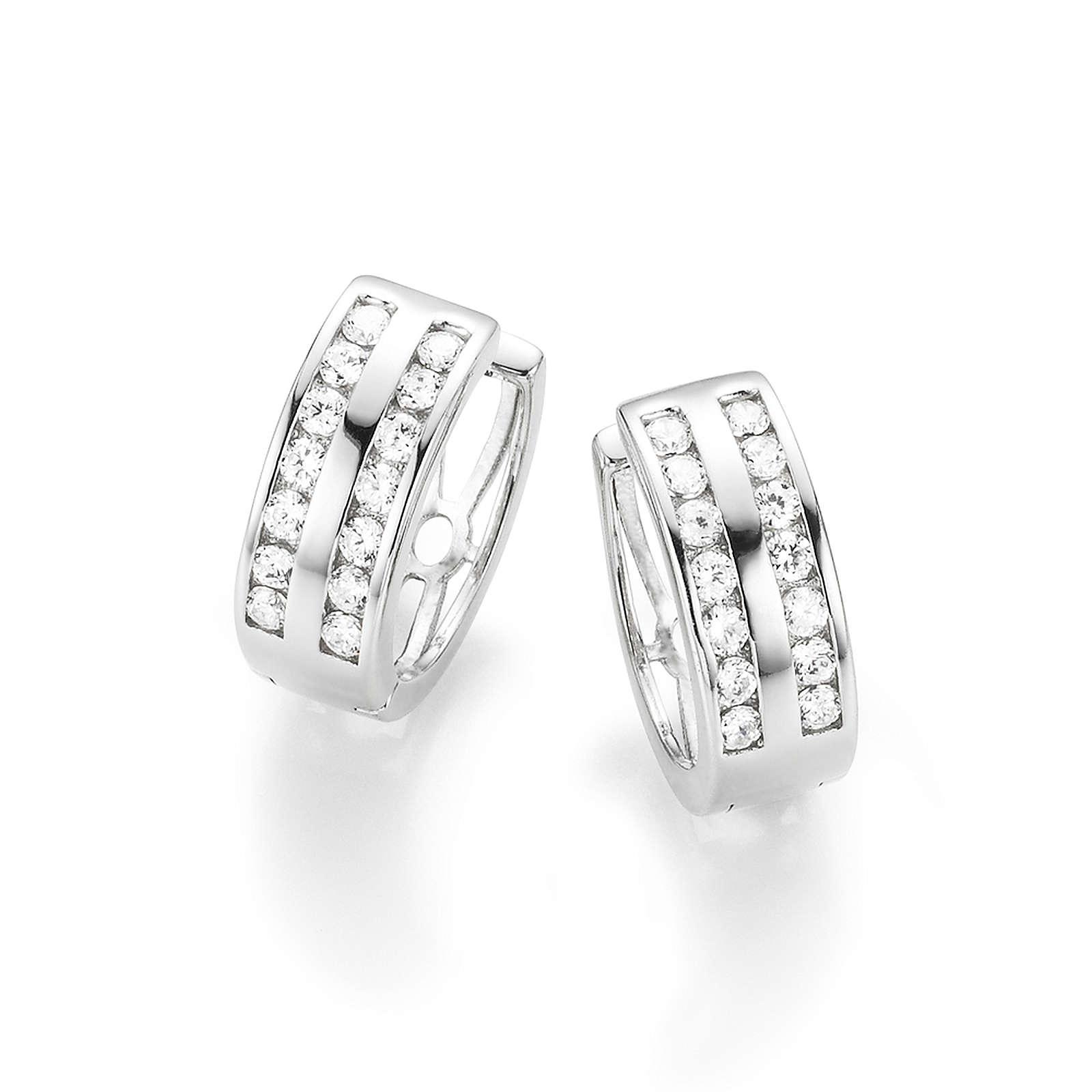 SMART JEWEL® Smart Jewel Klappcreolen mit Zirkonia Steine in zweireihiger Optik, Silber Creolen weiß Damen
