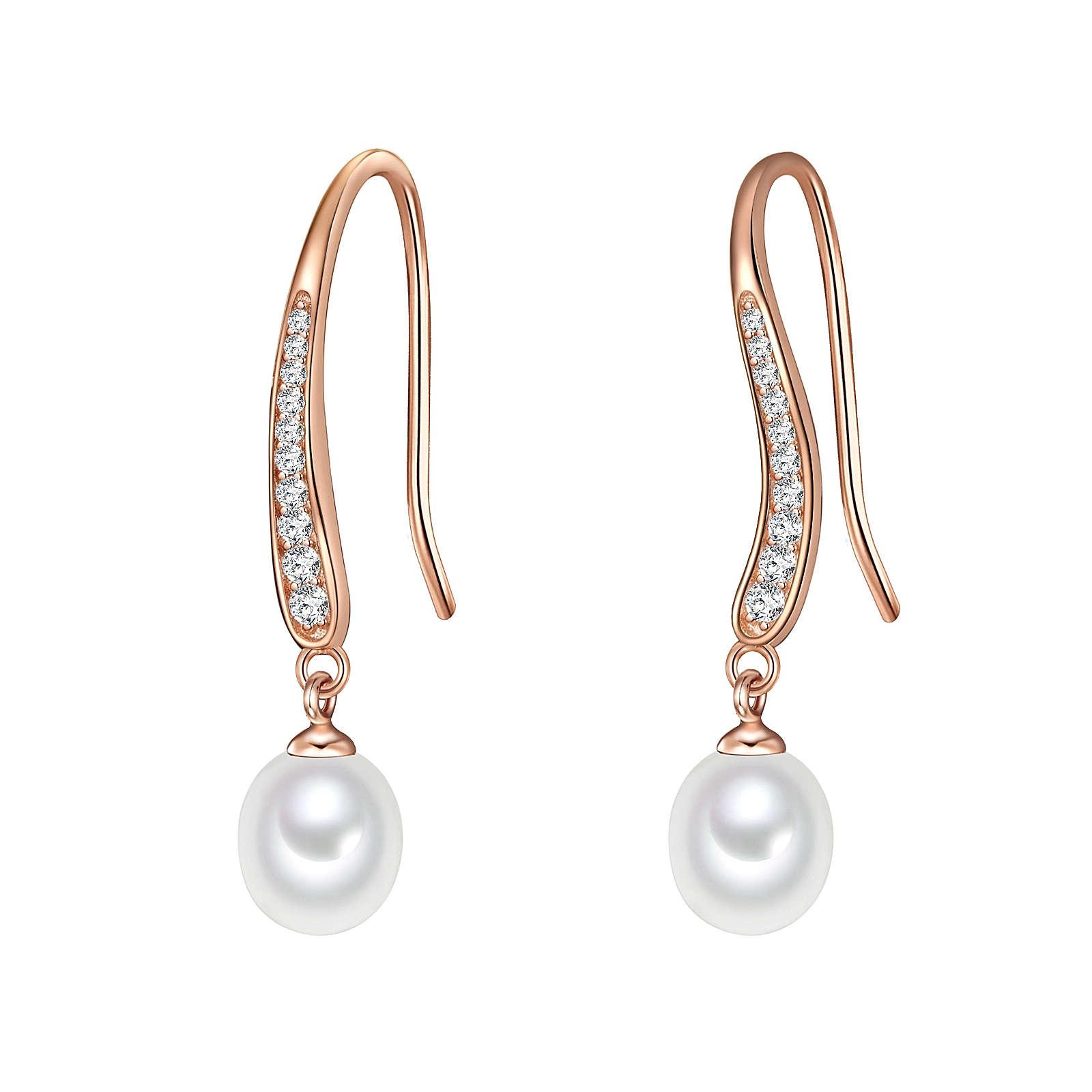 Valero Pearls Ohrhänger Sterling Silber rosévergoldet Süßwasser-Zuchtperlen weiß Ohrhänger rosegold Damen