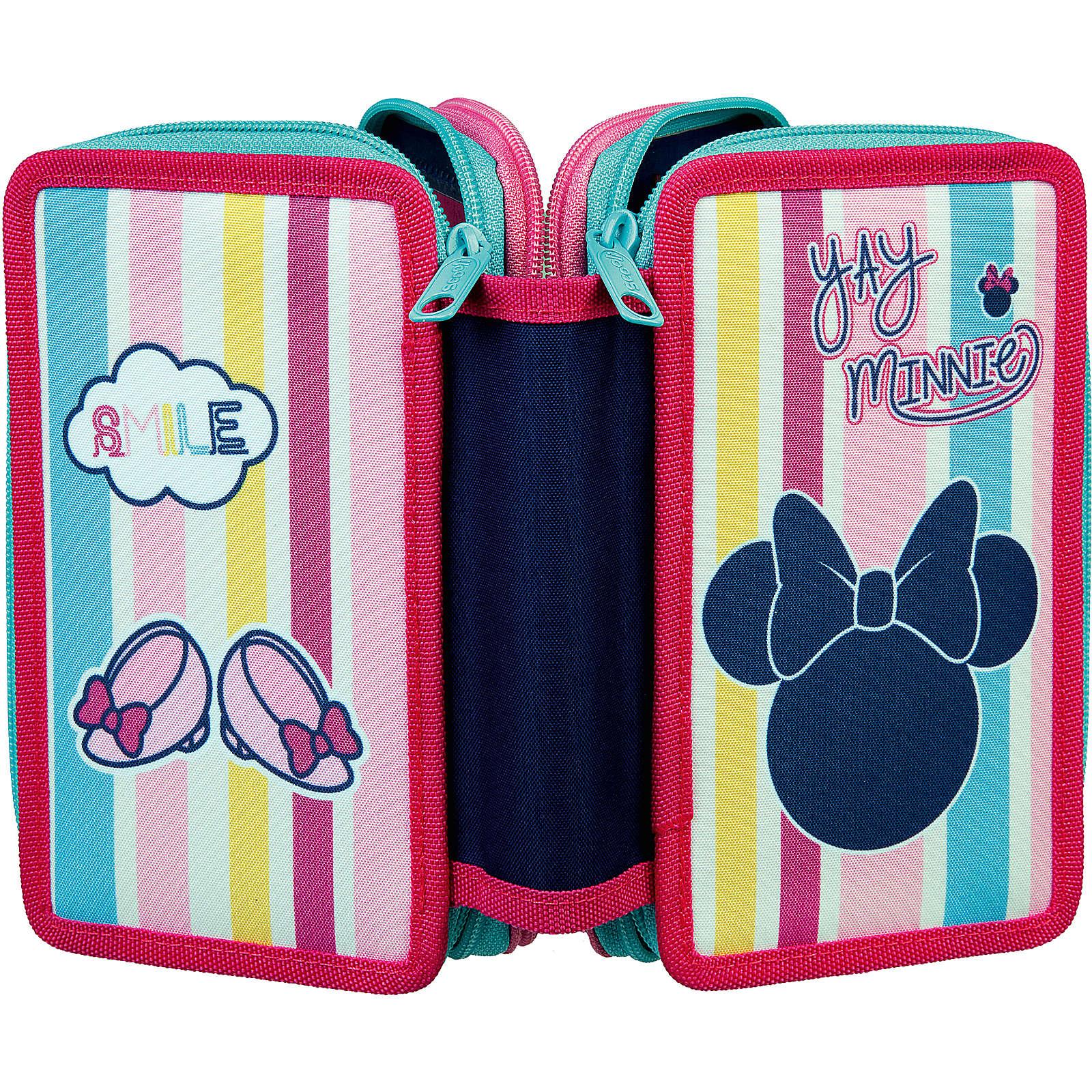 SCOOLI Triple-Federmäppchen Minnie Mouse, 30-tlg. rosa/blau Mädchen