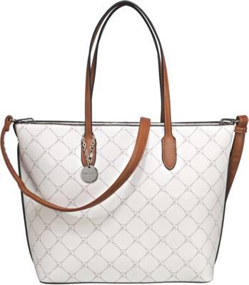 L.Credi Tasche weiß bunt bedruckt Handtasche Damentasche NEU