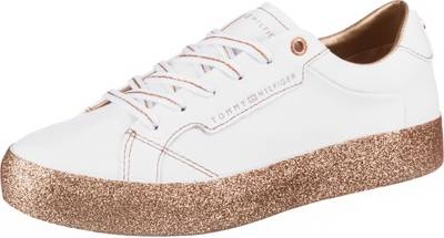 TOMMY HILFIGER, GLITTER FOXING DRESS SNEAKER Sneakers Low, weiß kombi
