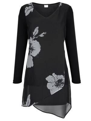 LAURA SCOTT Longshirt schwarz braun grau Druckshirt Blusenshirt Shirt